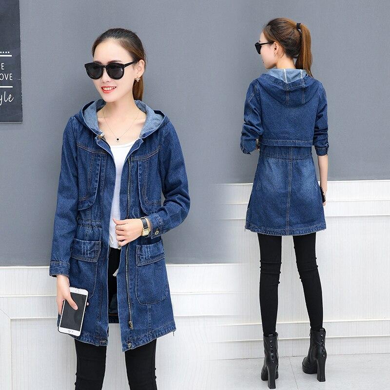 Denim Jacket Female Mid-length Students Loose Denim Clothing Coat Spring Autumn New Zipper Hooded Fashion Causal Women Jacket 1