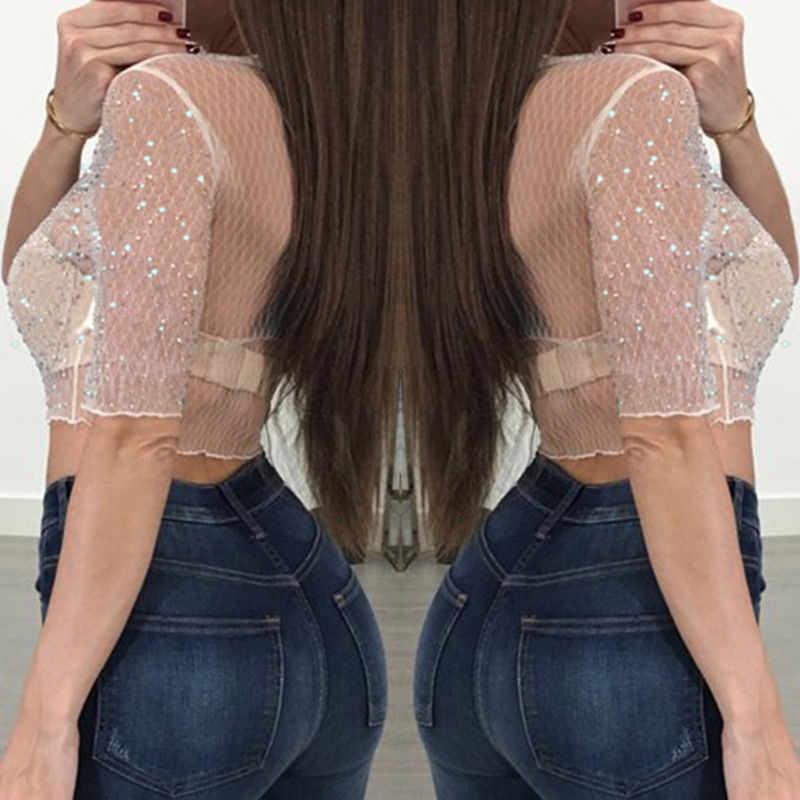 אופנה חדשה נשים סקסיות נצנצים יבול חולצות קיץ שרוול קצר לראות דרך הולו מתוך חולצות סקסיות ללבוש מסיבת הערב סקסית בגדים