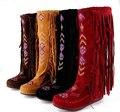 Moda estilo de la nación china acuden mujer cuero Fringe piso botas largas mujer primavera otoño borla botas altas
