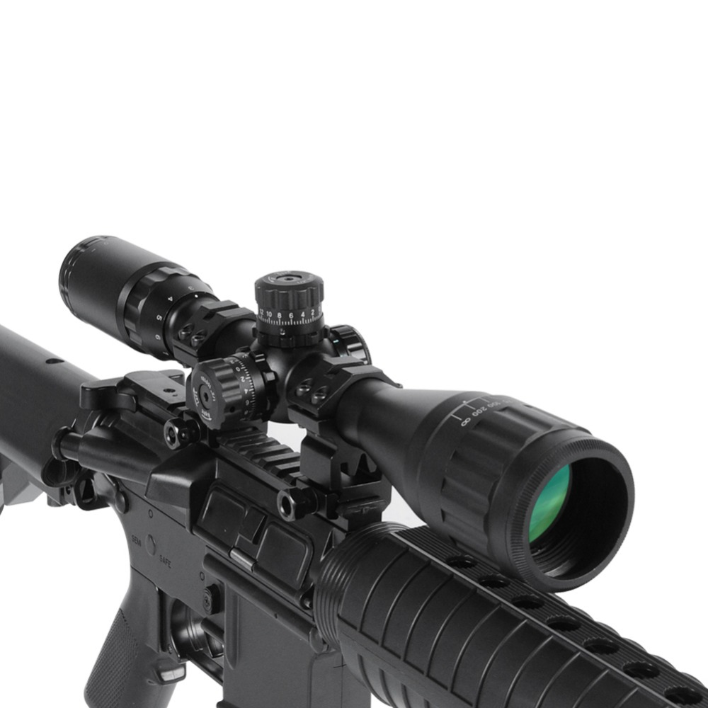 цены  3-12X40AOL Tactical Optical Sight Riflescope Red/Green/Blue Illuminated Reticle Compact Tube for Sniper Rifle