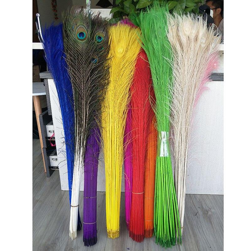100 pcs paon plume 80-90 cm/31-35 pouces 11 couleurs paon plumage performants à la maison plume décoration livraison gratuite