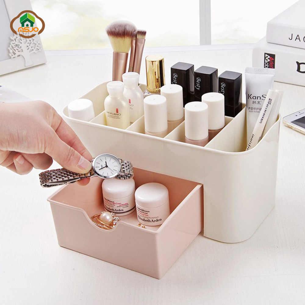 Msjo Organizador de Maquiagem Caixa de Jóias Colar Unha Polonês Brinco Caixa de Maquiagem Organizador de Desktop Em Casa de Plástico Para Cosméticos
