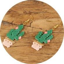 Shinus 5pair/lot Cactus Earrings Women Delica MIYUKI Earring 2019 Boho Chic Green Aretes De Mujer Handmade Jewelry Gift