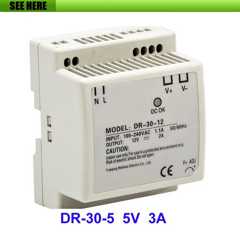 Best quality 5V 3A 30W Din Rail Switching Power Supply Driver For CCTV Camera LED Strip AC 85~264(V) Input to DC 5V best quality 40v 10a 400w switching power supply driver for cctv camera led strip ac 100 240v input to dc 40v