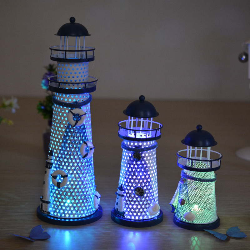 oobest LED Lighthouse Lantern Lamp Night Light Flashy LED Changing Lamp Creative Home Decor Gift Mediterranean Style