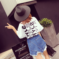 Summer Letter Print Short Sleeved T shirt Two Piece Set Fashionable All Match Denim Skirt Suit Wite Tee