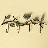 Creative Iron Wall Hook Home Decoration Gancho De Parede High Quality Retro Bird Leaf Wall Cabide