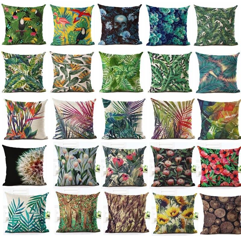 NEU 45x45cm Leinen Blumen Pflanze Kissenhülle Kissenbezug Sofakissen Dekokissen