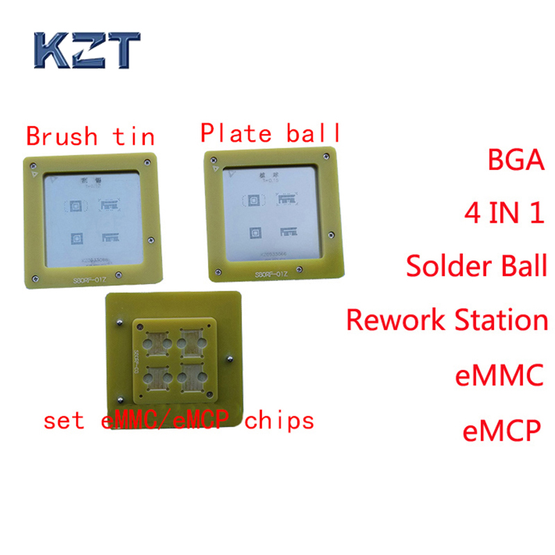 eMMC/eMCP Reballing stencil 4 in 1 BGA Rework Station eMMC153 eMMC169 eMCP162 eMCP186 Reball Jig Solder Ball Mounting NAND chipseMMC/eMCP Reballing stencil 4 in 1 BGA Rework Station eMMC153 eMMC169 eMCP162 eMCP186 Reball Jig Solder Ball Mounting NAND chips