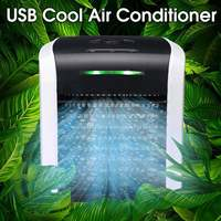 becornce Portable Colorful Air Conditioner Fan Mini Cooler Desk Cube Water Silent Cool USB Charge 2 Gear Adjustment Fans