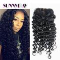 Sunnymay Free Part Brazilian Human Hair Silk Base Closures 7A Unprocessed Deep Curly Human Virgin Hair Silk Base Lace Closure