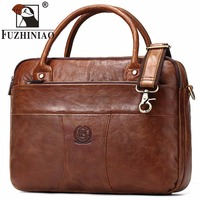 FUZHINIAO Genuine Leather Briefcase Laptop Handbag Men Shoulder Messenger Bags Brand Designer High Capacity Travel Crossbody