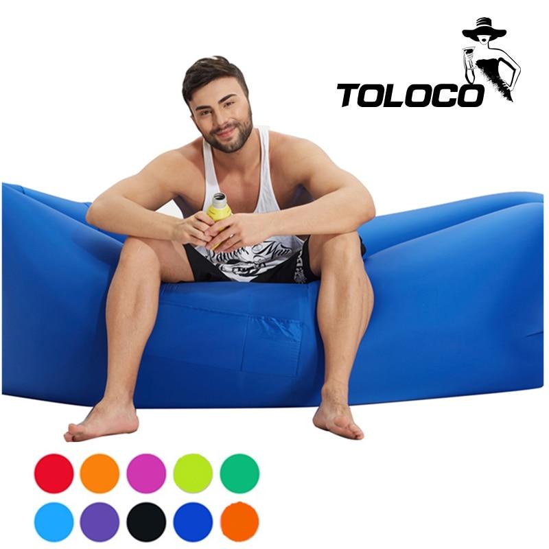 Fast Inflatable sleeping air bed hangout Air Sleep Hiking Camping Bed Beach Sofa Lounge Banana Sleeping <font><b>bags</b></font> lazy lay <font><b>bag</b></font>