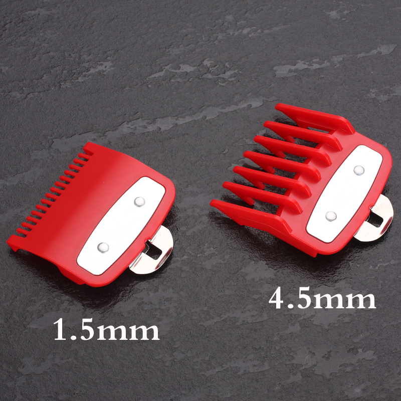 Guide comb sets 1.5 and 4.5 mm size red color attachment comb set with a metal holder For professional clipperGuide comb sets 1.5 and 4.5 mm size red color attachment comb set with a metal holder For professional clipper