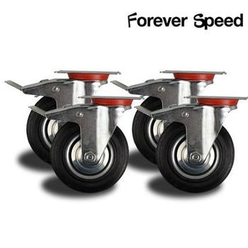 4 stuks 75mm Zware 200kg Zwenkwielen Trolley Meubels Wielen Caster Rubber Rem Trolley ruedas para mueble