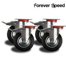 4 шт. 75 мм сверхмощная функция 200 кг черный шарнирный колесные диски тележка резиновые колесики для мебели тормозной мебель на колесиках рицинус