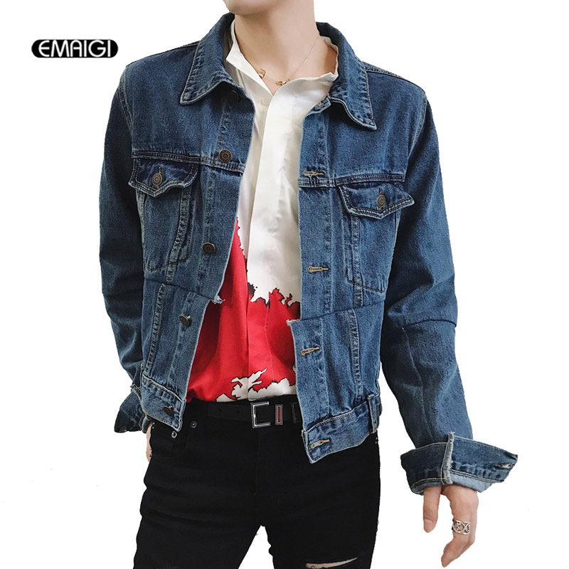Men Women Spring Autumn Splice Denim Jacket High Street Fashion Hip Hop Male Jeans Coat Outerwear