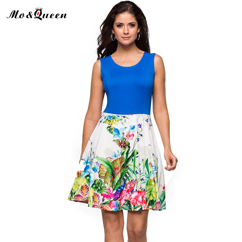 MOQUEEN Floral Sexy Dress 2017 Fashion Brand Women Summer Dress Polyester Sleeveless Printed Ladies Dresses Casual
