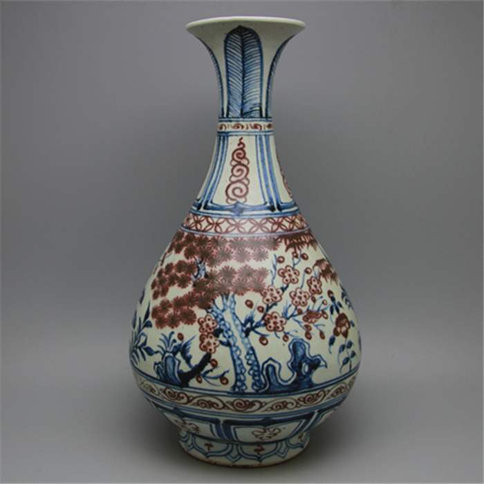 5 Antique Old Chinese Porcelain Vaseblue Underglaze Red Bottle