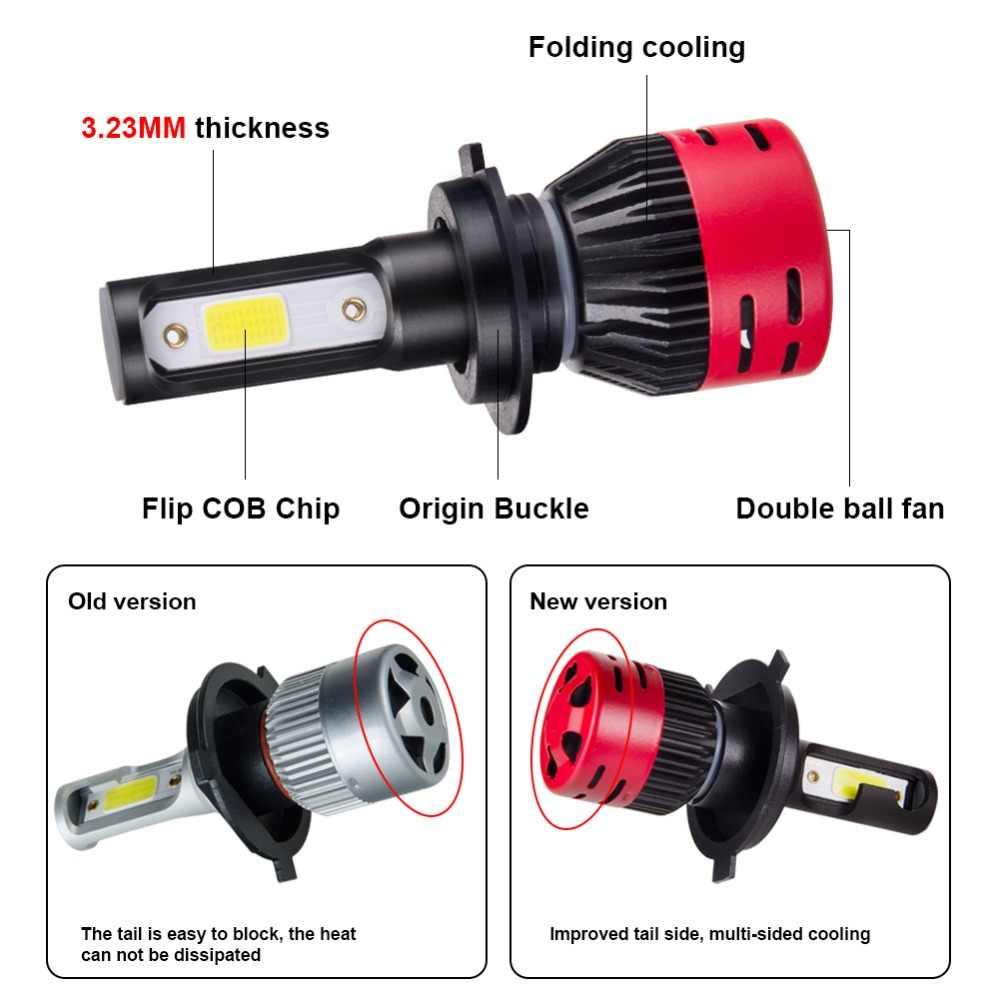 Foxcnsun 1 יחידות לשלוח מתנה קישור H4 LED H7 H1 H3 H8 H9 H11 9005 9006 9012 מיני רכב פנס הנורה Hi Lo Beam H4 8000LM 72 w 6500 k