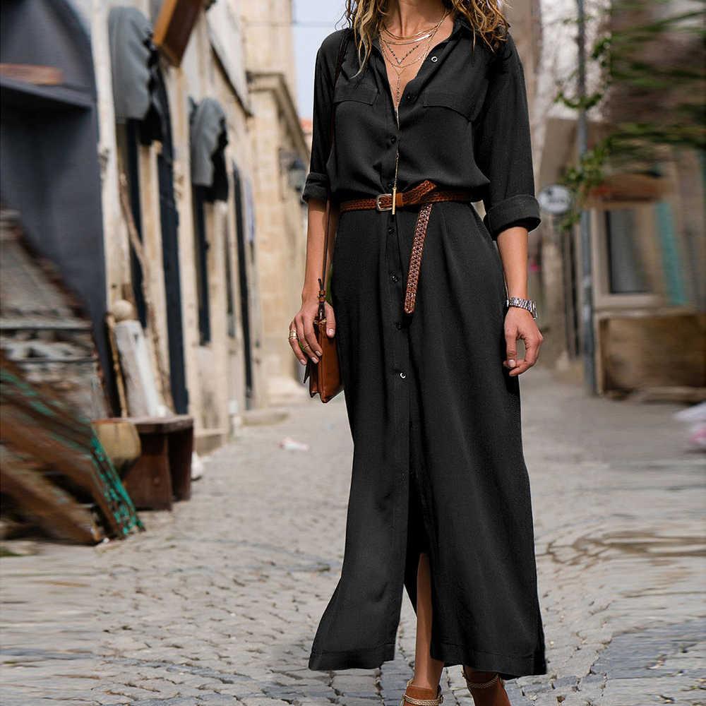 春/夏のファッションルース長袖ドレスとベルトカジュアル通勤オフィスシャツ気質ドレス 2019
