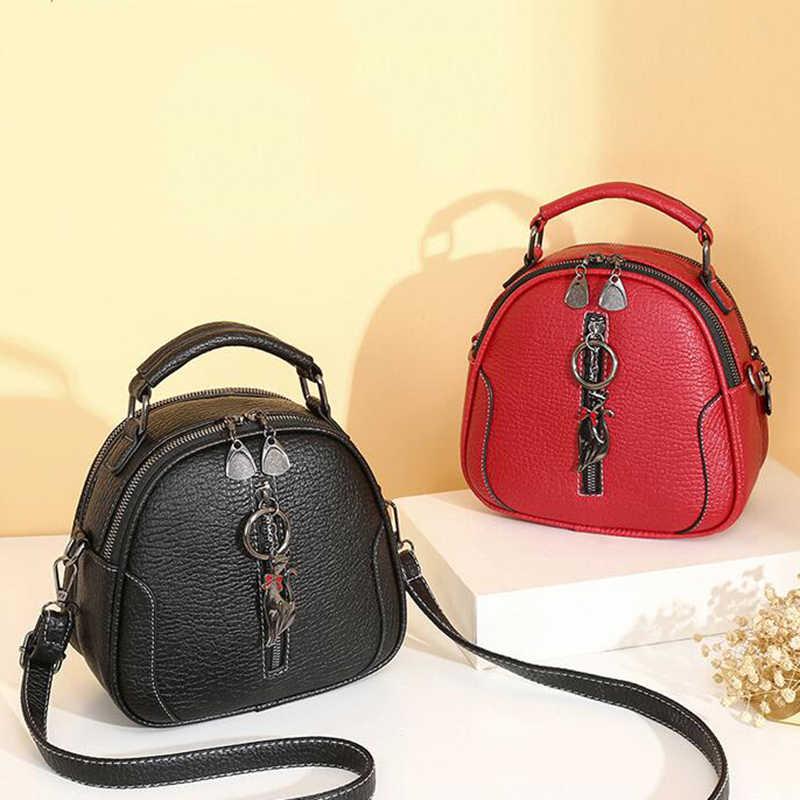 Hohe Qualität solide PU Leder Frauen Tasche Damen Umhängetasche Messenger Schulter Taschen Vintage Handtaschen kätzchen ornamente