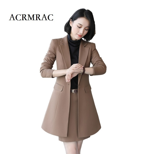 Acrmrac Women Formal Wear Suit Long Section Long Sleeves Slim Ol