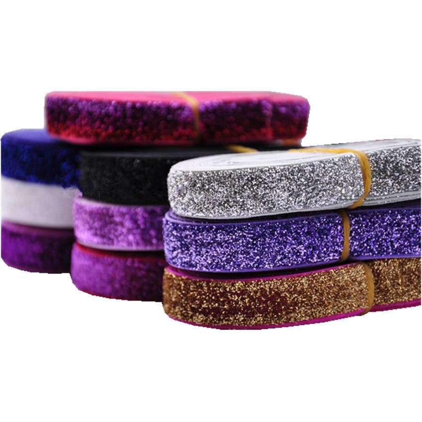 37colors Glitter Elastic Fold Over Elastic Shiny Rainbow FOE For DIY Apparel Wedding Party Gift Sewing Accessories 5Yard 5/8''