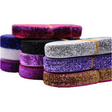 37colors Glitter Elastic Fold Over Shiny Rainbow FOE for DIY Apparel Wedding Party gift Sewing Accessories 5Yard 5/8