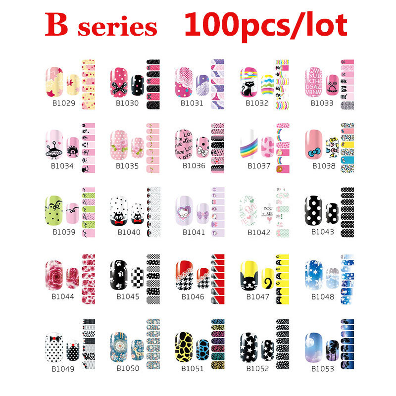 цена на 100pcs Fashion Self Adhesive Nail Art Stickers Cartoon Flowers Design Nail Tips Decoration DIY Beauty Nail Wraps Decal Wholesale