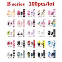 100pcs Fashion Self Adhesive Nail Art Stickers Cartoon Flowers Design Nail Tips Decoration DIY Beauty Nail Wraps Decal Wholesale
