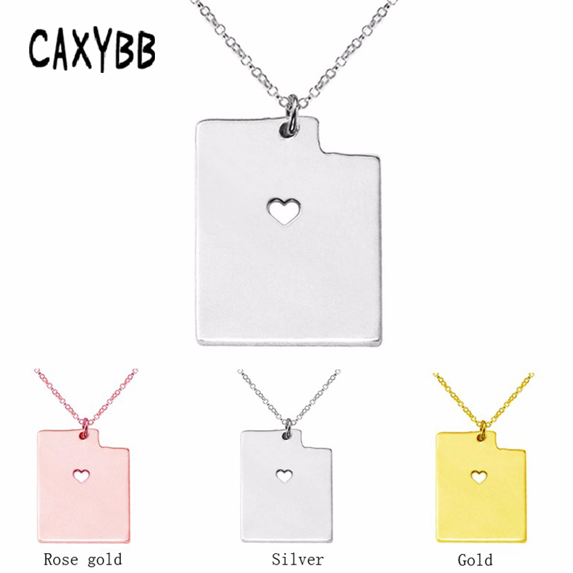 Utah State map Charm Pendant Necklace Fashion Women Heart Statement Necklace jewelry Link Chain Metal necklaces & pendants