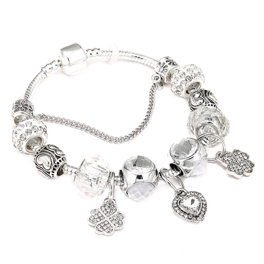 Simple Friendship Love Pandora Bracelets Silver Color Heart Pendant Bracelets with White Beads Girl Bracelet Jewelry