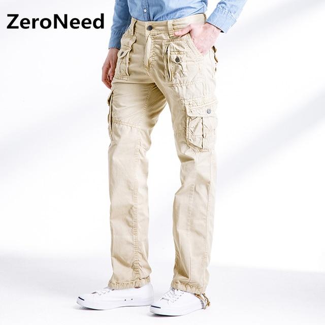 f281c84acf US $23.93 49% di SCONTO|Cargo Pantaloni uomo Casual Work Pant All'aperto  Cotone pantaloni Multi Tasca jogging uomini 2017 nuovo khaki pantaloni  lunghi ...