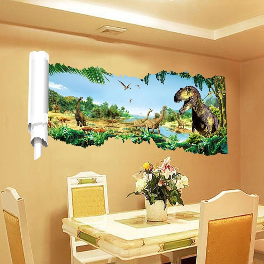 3d dinosaurs wall stickers jurassic age home decoration DIY cartoon ...
