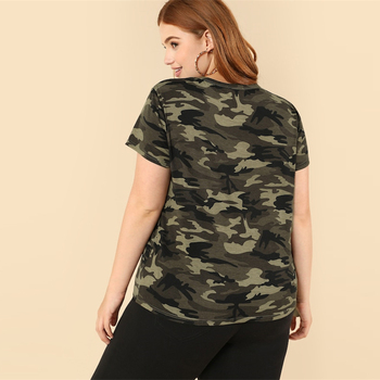 Casual Plus Strappy Neck Camo V neck Short Sleeve T-shirt