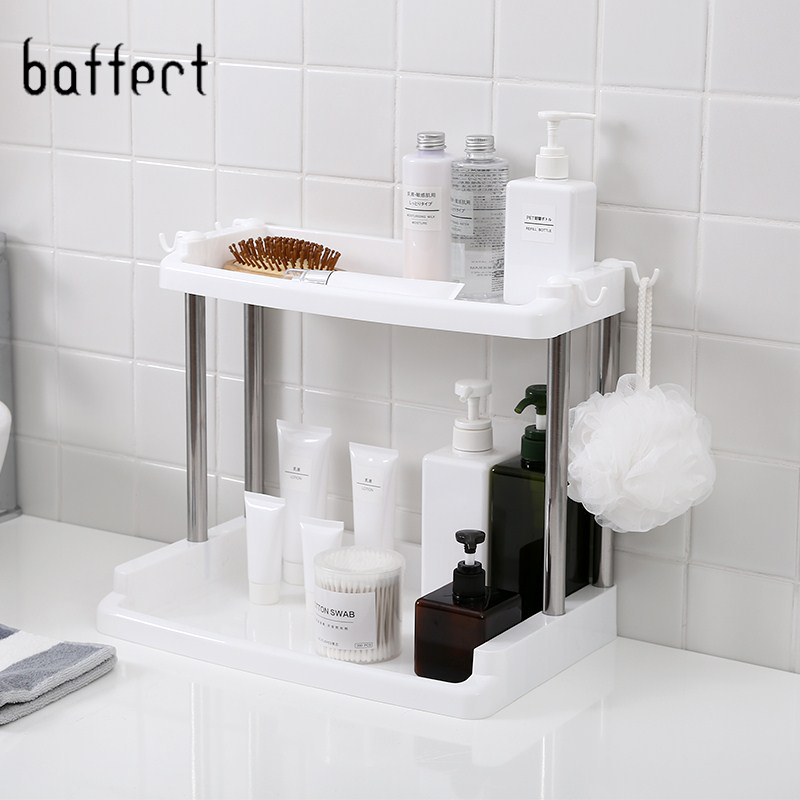US $17.31 45% OFF|Multi function Bathroom Racks Storage Shelves Stainless  Steel Rack Condiment Kitchen Shelf Double Layer Kitchen Storage Holder-in  ...