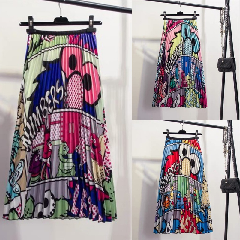 2019 Summer Casual Women Maxi Skirt Fashion Cartoon Animal Printed Skirts Elastic Waist Long Pleated High Waist A-line Skirt