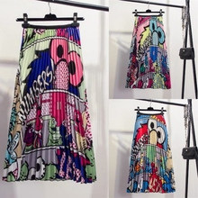 2019 Summer Casual Women Maxi Skirt Fashion Cartoon Animal Printed Skirts Elastic Waist Long Pleated High Waist A-line Skirt maxi high waist pleated a line dress