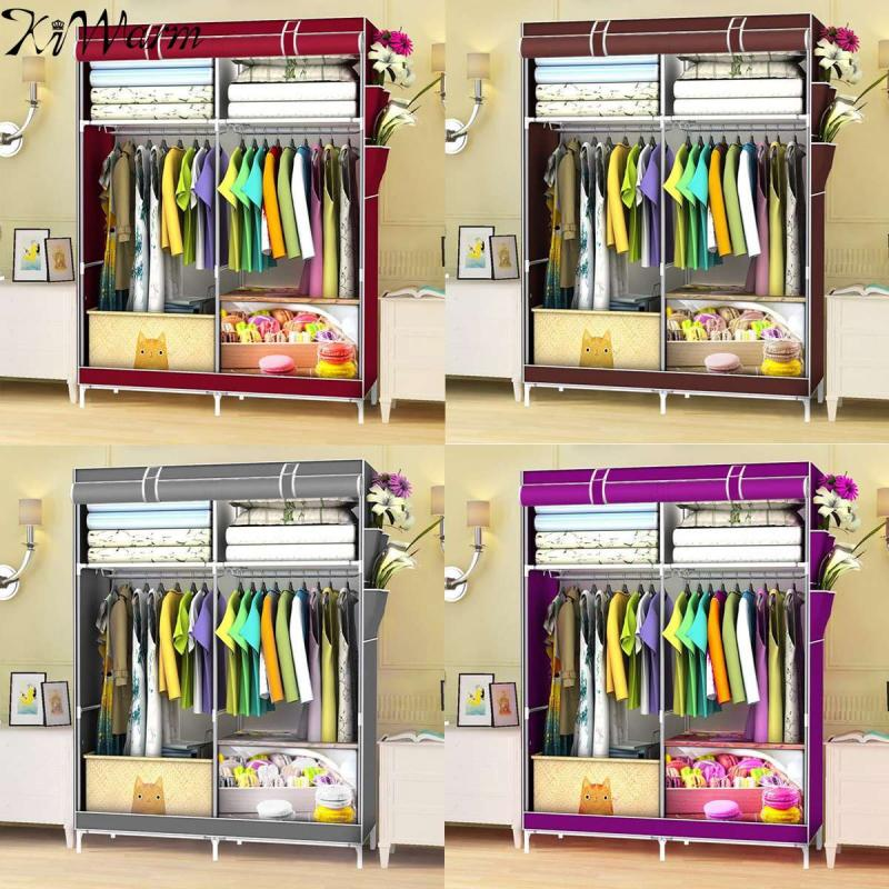 KIWARM Modern Home Simple Steel Frame Wardrobe Clothes Storage Cabinet Organizer Multi Colors Clothing Wardrobe Storage Hangers