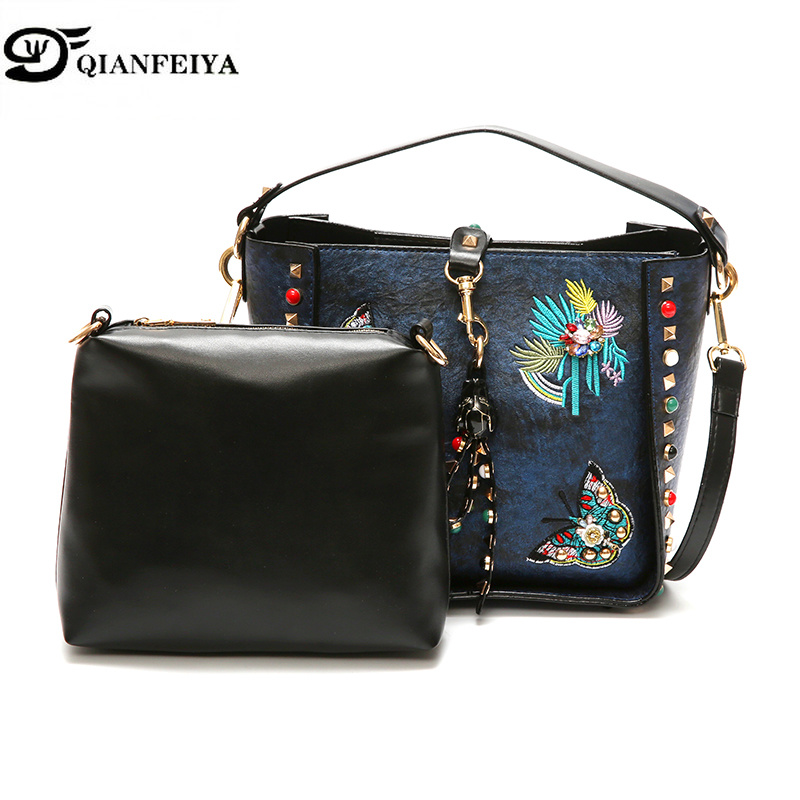 Bags for Woman 2018 Pattern All-match. Embroidery Rivet Width Straps Single Shoulder Butterfly Child And Mother Package Tide GG fashion rabbit and grass pattern 10cm width wacky tie for men
