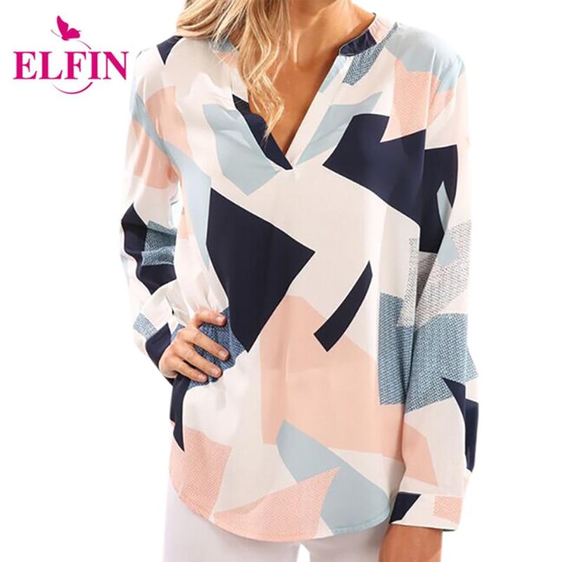 Dames Blouses Shirts met lange mouwen V-hals geometrische losse blouse Dames Strand Vrije tijd Blusa Print Casual shirts Plus maat LJ9763R