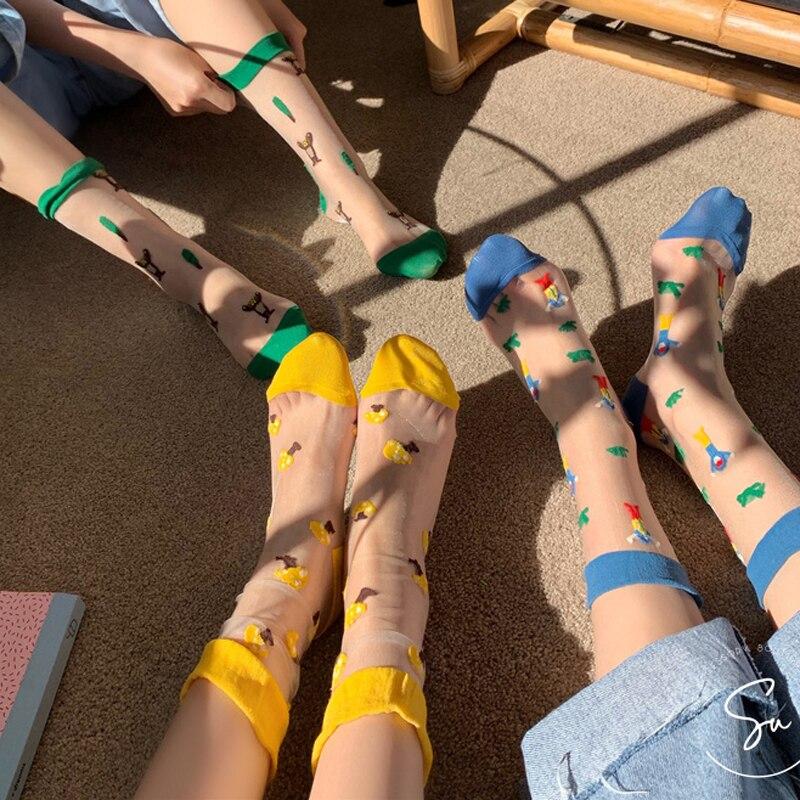SP&CITY New Arrival Animal Patterned Transparent Short Socks Women Cartoon Thin Funny Hipster Socks Female Harajuku Art Socks