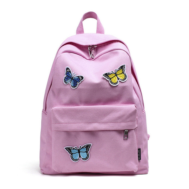 369878444178 Fashion Women School Bags Canvas Butterflies Decoration Zipped Student  Travel Casual Bag Lady Girl Backpack Big Capacity