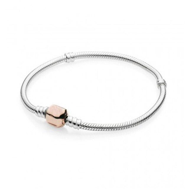 7b7481153c23 Pandulaso de cadena de serpiente de plata pulseras de plata con rosa de oro  clásico cierre