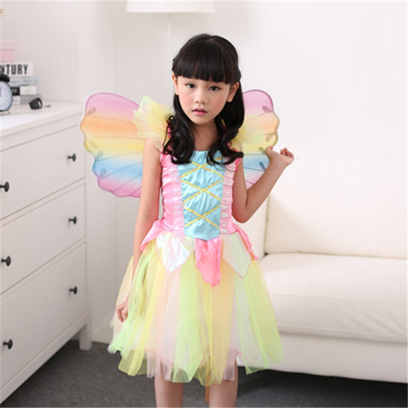 Vocole Girl's Fairy Tale Cute Rainbow Tinker Bell Cosplay Dress Beautiful Candy Colors Princess Fancy Dress Halloween Costume