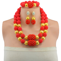 Hot Sale Nigerian Wedding African Beads Jewelry Set Crystal Necklace African Costume Bridal Jewelry Sets Free