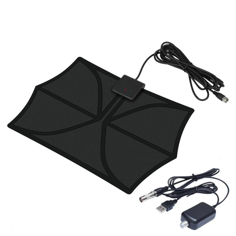 Amplified HDTV Antenna Range Digital Indoor TV Antenna With Detachable Signal Amplifier Booster And Coax Cable 50 Miles Dropship