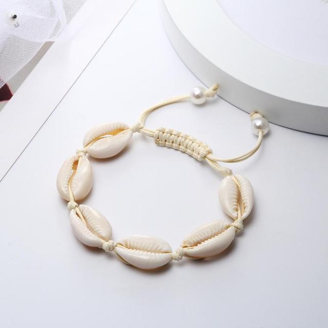 Pulseras hechas a mano de mujer Natural Cowrie mar Shell tejido hebra pulsera cuerda ajustable delicada playa