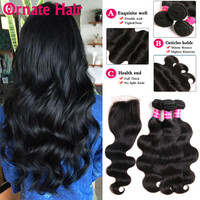 Ornate Brazilian Body Wave Human Hair Bundles With Closure Brazilian Hair Weave Bundles With Lace Closure Remy Hair Extensions
